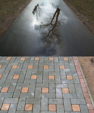 тротуарная плитка либо асфальт